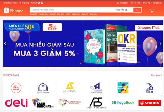Mua sách online tại Shopee